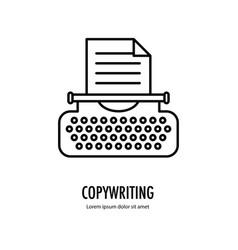Typewriter line logo vector