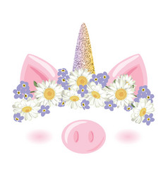 Unicorn pig cute catroon character with floral vector
