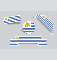 Uruguayan flag stickers and labels vector