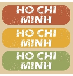 Vintage Ho Chi Minh stamps vector