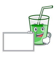 with board green smoothie character cartoon vector image