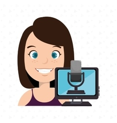 woman cartoon speak microphone vector image