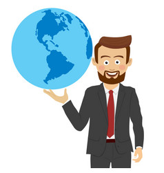 young businessman holding the planet in his hand vector image