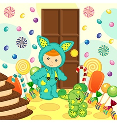 baby boy rabbit sweet food vector image vector image