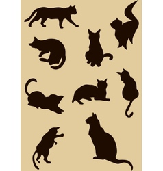 cats silhouettes vector image