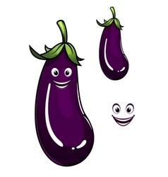 Happy healthy purple eggplant or aubergine vector image vector image