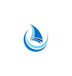 sail boat travel ocean logo vector image