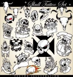 skull tattoo set vector image