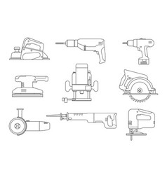 electric tools line icons vector image vector image