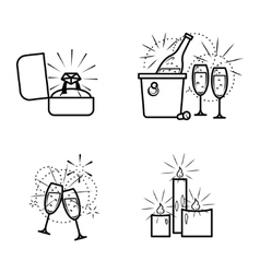 Engagement items icons set vector image vector image