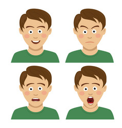 handsome teenager boy having various expressions vector image