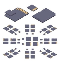 Isometric flat sd memory card vector image vector image
