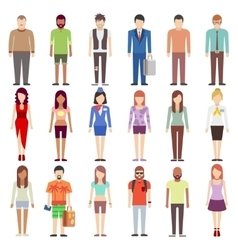 People in casual clothes flat icons set vector image vector image