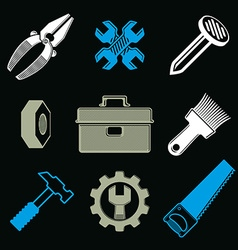 Set of 3d detailed tools repair theme stylized vector image