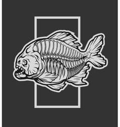 Skeleton piranha and a geometric element vector image