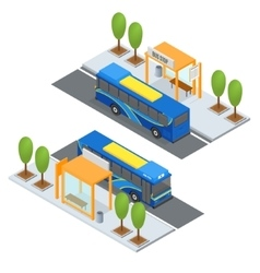 Bus Station and Public Transportation vector image vector image