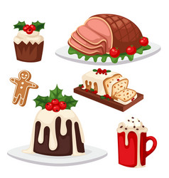 christmas food and desserts holiday decoration vector image