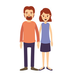 Colorful image caricature full body couple woman vector