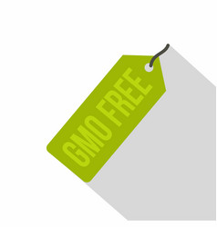 gmo free green price tag icon flat style vector image