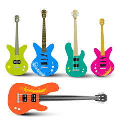 Guitars and Bass Guitars Set Abstract Musical vector image