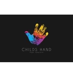 Hand logo design Childs hand logo Colorful logo vector image