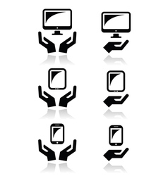 Hands with computer tablet mobile or cell phone vector image vector image