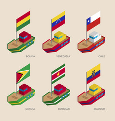 isometric ships with flags of european countries vector image vector image