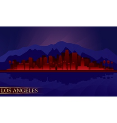 Los Angeles night city skyline detailed silhouette vector image vector image