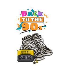 retro style attributes - zebra sneakers sport vector image