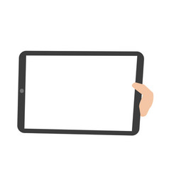 human hand holding a tablet pc vector image