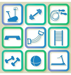 Set of 9 blue icons of the fintess club equipment vector image vector image
