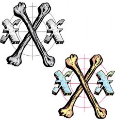 tattoo style letter x with vector image vector image