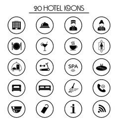 20 hotel services icons Isolated vector image