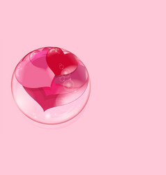 a lot of red hearts inside a transparent ball on a vector image