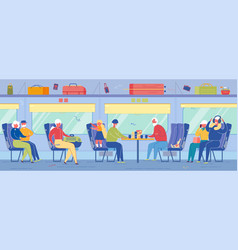 aged passengers travel train sitting on seats vector image