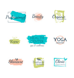 and badges for beauty vector image