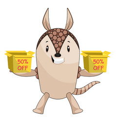 armadillo holding sale boxes on white background vector image