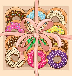 Background with gift box of donuts vector