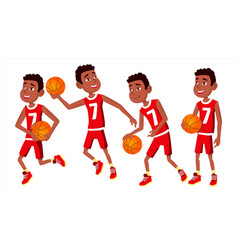 Basketball player child set various poses vector
