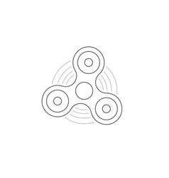 black thin line hand fidget spinner logo vector image