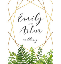 Botanical wedding floral invitation invite save vector