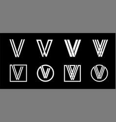 capital letter v modern set for monograms logos vector image