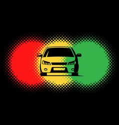 car silhouette and traffic light spots vector image