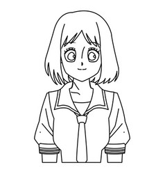 Cartoon girl anime character outline vector