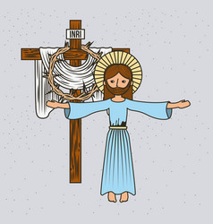 cartoon jesus christ ascension cross and crown vector image
