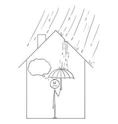 cartoon man holding umbrella inside his family vector image
