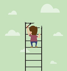 Cartoon of Artist are painting ladder and also cli vector