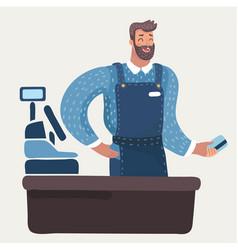 Cashier man vector