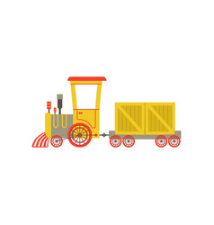 Childrens cute cartoon yellow toy cargo train vector