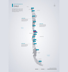 chile map with infographic elements pointer marks vector image
